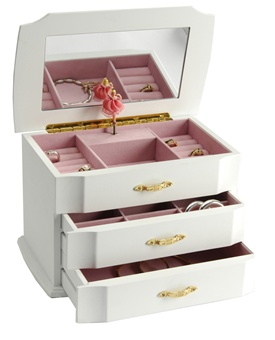 White Musical Jewelry Box with Spinning Ballerina for Girls
