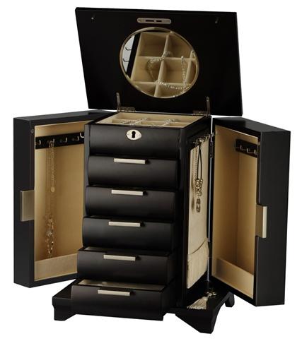 Tall Espresso Locking Wooden Jewelry Armoire Necklace Storage