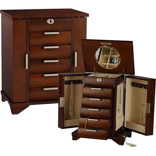 Tall Walnut Jewelry Box Armoire Locking Necklace Jewelry Storage