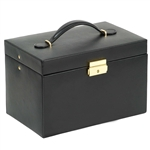 Faux Leather Jewelry Train Case with Three Drawers and Travel Box