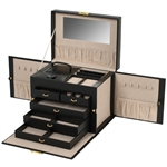 Large Jewelry Train Case with Side Panels for Necklaces and Mini Box