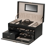 Large Jewelry Train Case with 6 Drawers and 2 Travel Boxes