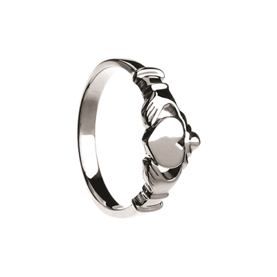 Sterling Silver Contemporary Claddagh with Flat Heart Surface 9.1mm