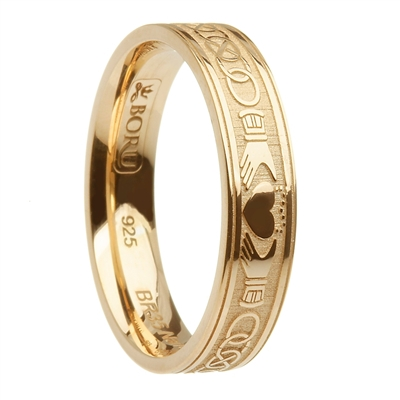 14k Yellow Gold Celtic Knot & Claddagh Wedding Ring 5.2mm