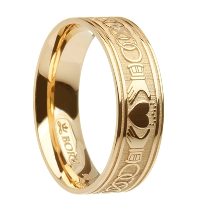10k Yellow Gold Wide Celtic Knot & Claddagh Wedding Ring 7.2mm