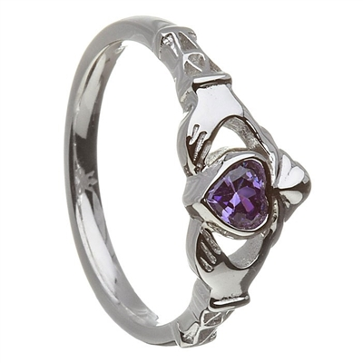 10k White Gold February CZ Amethyst Birthstone Claddagh Ring 11m