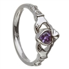 14k White Gold February CZ Amethyst Birthstone Claddagh Ring 11mm