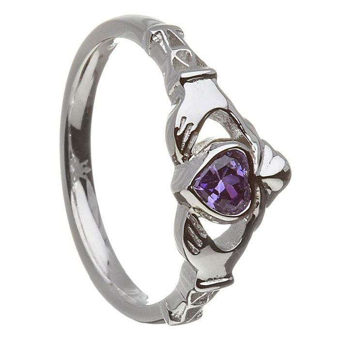 52ca1e4dab990 Sterling Silver Feb Synthetic Amethyst Birthstone Claddagh Ring 11mm