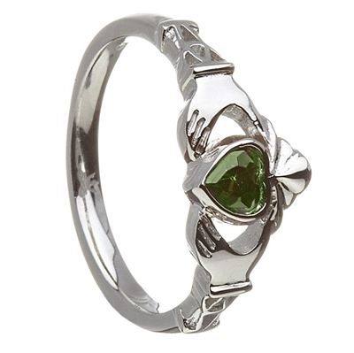 10k White Gold May CZ Emerald Birthstone Claddagh Ring 11mm