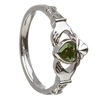 14k White Gold May CZ Emerald Birthstone Claddagh Ring 11mm