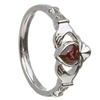 10k White Gold June CZ Alexandrite Birthstone Claddagh Ring 11mm