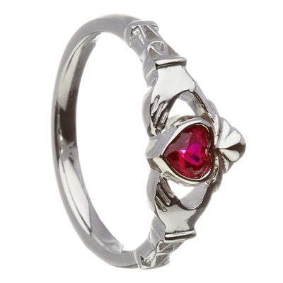 10k White Gold July Ruby (Synthetic) Birthstone Claddagh Ring 11mm