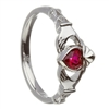 14k White Gold July Ruby (Synthetic) Birthstone Claddagh Ring 11mm