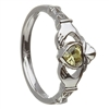 10k White Gold August CZ Peridot Birthstone Claddagh Ring 11mm
