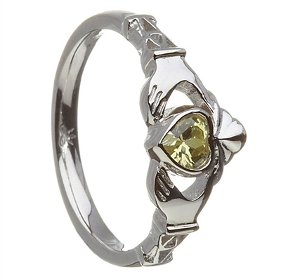 14k White Gold August CZ Peridot Birthstone Claddagh Ring 11mm