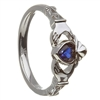 14k White Gold September CZ Sapphire Birthstone Claddagh Ring 11mm