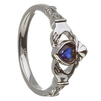 Sterling Silver September Synthetic Sapphire Birthstone Claddagh Ring 11mm
