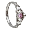 14k White Gold October CZ Pink Tourmaline Birthstone Claddagh Ring 11mm