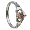 14k White Gold November CZ Citrine Birthstone Claddagh Ring 11mm