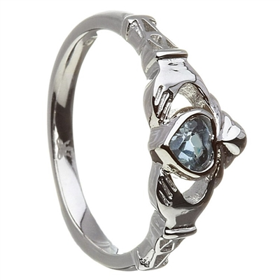 Sterling Silver December Synthetic Blue Topaz Birthstone Claddagh Ring 11mm