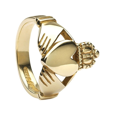 14k Yellow Gold No.26 Style Heavy Men's Claddagh Ring 15.3mm