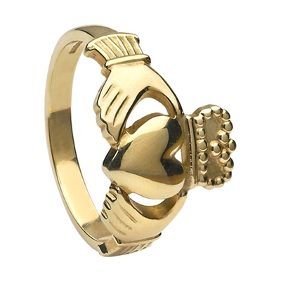 14k Yellow Gold No.5 Style Heavy Men's Claddagh Ring 14mm
