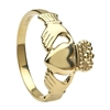 14k Yellow Gold No.5 Style Medium Men's Claddagh Ring 14mm