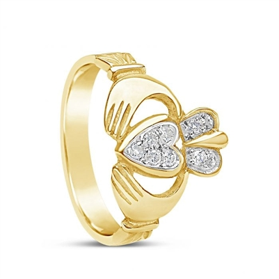 10k Yellow Gold Pavee Diamond Claddagh Ring 13.4mm