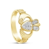 14k Yellow Gold Pavee Diamond Claddagh Ring 13.4mm