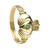 10k Yellow Gold Emerald & Diamond Claddagh Ring 13.4mm