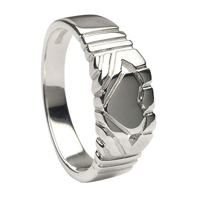 Platinum Contemporary Claddagh Ring 7mm