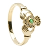 14k Yellow Gold Emerald & Diamond Claddagh Ring 10mm