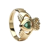10k Yellow Gold Heart Shaped Emerald Claddagh Ring 13mm