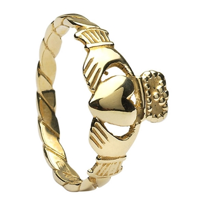 14k Yellow Gold Twist Shank Ladies Claddagh Ring 10.3mm