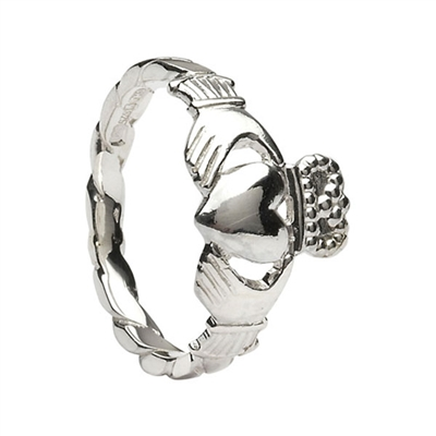 14k White Gold Ladies Twist Shank Claddagh Ring 10.3mm
