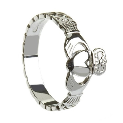 10k White Ladies Celtic Rope Claddagh Ring 9mm