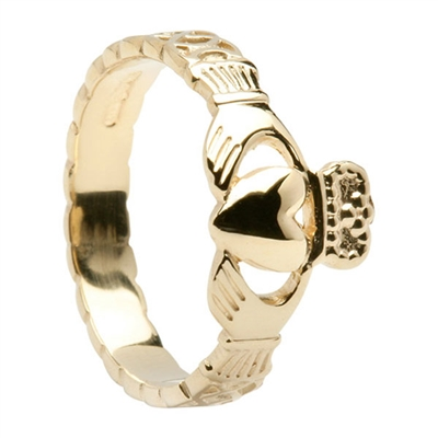 14k Yellow Ladies Celtic Rope Claddagh Ring 9mm