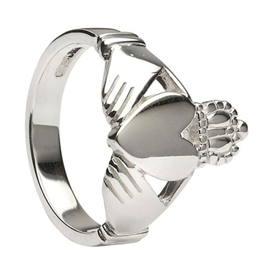 10k White Gold No.26 Style Heavy Men's Claddagh Ring 15.3mm