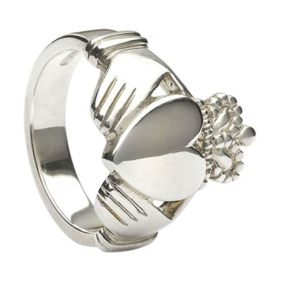 14k White Gold Style No.27 Large Extra Heavy Men's Claddagh 18.1mm