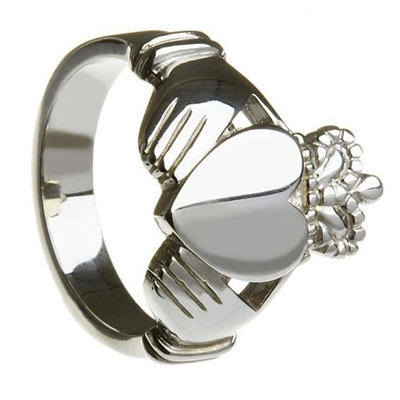 Sterling Silver Style No.27 Large Extra Heavy Men's Claddagh Ring 18.1mm