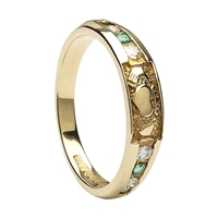 10k Yellow Gold Diamond Emerald Claddagh Eternity Ring 4.4mm
