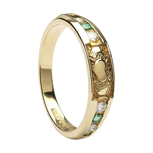 Yellow Gold Diamond Emerald Claddagh Eternity Ring 4 4mm