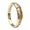 10k Yellow Gold Diamond Claddagh Eternity Ring 4.4mm