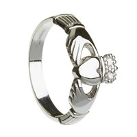 10k White Gold Heavy Small Claddagh Ring 10mm