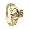 10k Yellow Gold Emerald Small Claddagh Ring 10mm