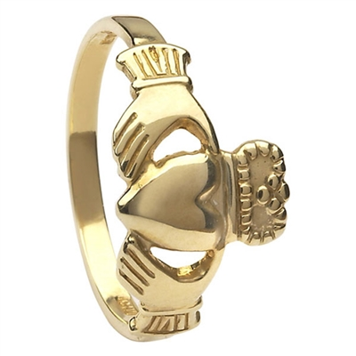 14k Yellow Gold Standard Small Claddagh Ring 10mm