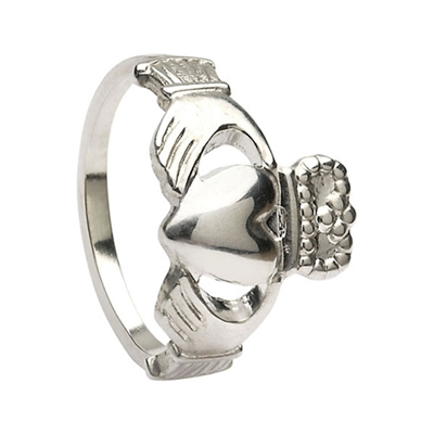 14k White Gold Standard Small Claddagh Ring 10mm