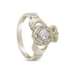 10k White Gold Diamond Claddagh Ring 12.4mm