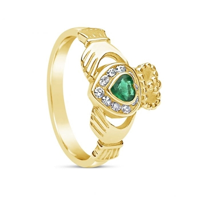 10k Yellow Gold Diamond & Emerald Claddagh Ring 12.4mm