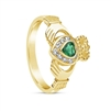 14k Yellow Gold Diamond & Emerald Claddagh Ring 12.4mm